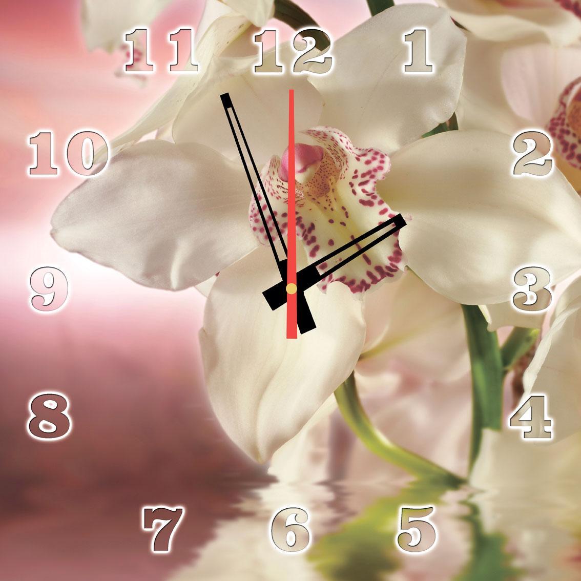 """Годинники настінні на склі """"Лілові орхідеї"""" кварцові 40х40см"""