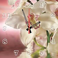 """Часы настенные на стекле """"Лиловые орхидеи"""" кварцевые 40х40см"""