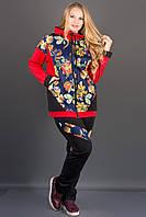 Женский комбинированный с цветным принтом Дейла цвет бордо размер 54-64