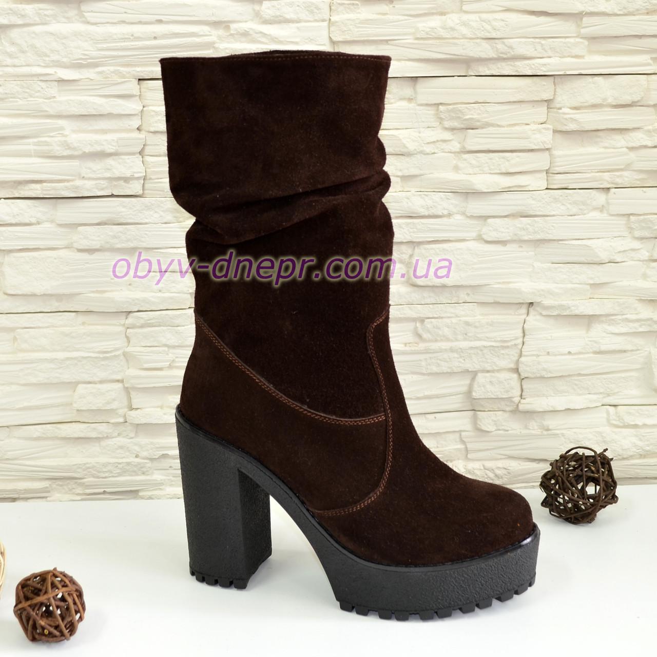 75743efd920b Ботинки замшевые зимние на высоком каблуке, цвет коричневый.: продажа, цена  в ...