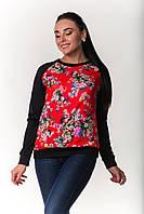 Модный женский свитшот красно-черного цвета