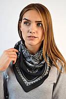 Шифоновый платок с этно орнаментом черный