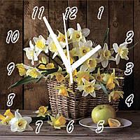 """Часы настенные на стекле """"Нарциссы в корзине"""" кварцевые 40х40см"""