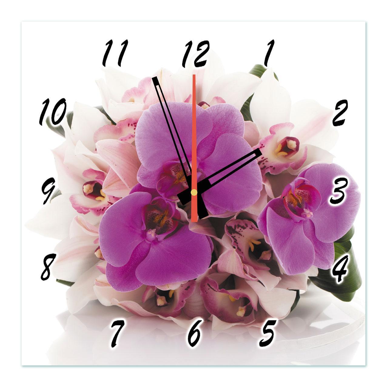"""Годинники настінні на склі """"Бузкові і білі орхідеї"""" кварцові 40х40см"""