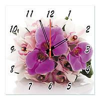 """Часы настенные на стекле """"Сиреневые и белые орхидеи"""" кварцевые 40х40см"""