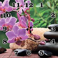 """Часы настенные на стекле """"Сиреневые орхидеи СПА"""" кварцевые 40х40см"""