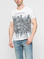 Белая мужская футболка LC Waikiki с надписью на груди Manhattan
