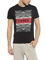 Черная мужская футболка LC Waikiki с надписью на груди Cyber, фото 1