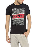 Черная мужская футболка LC Waikiki с надписью на груди Cyber