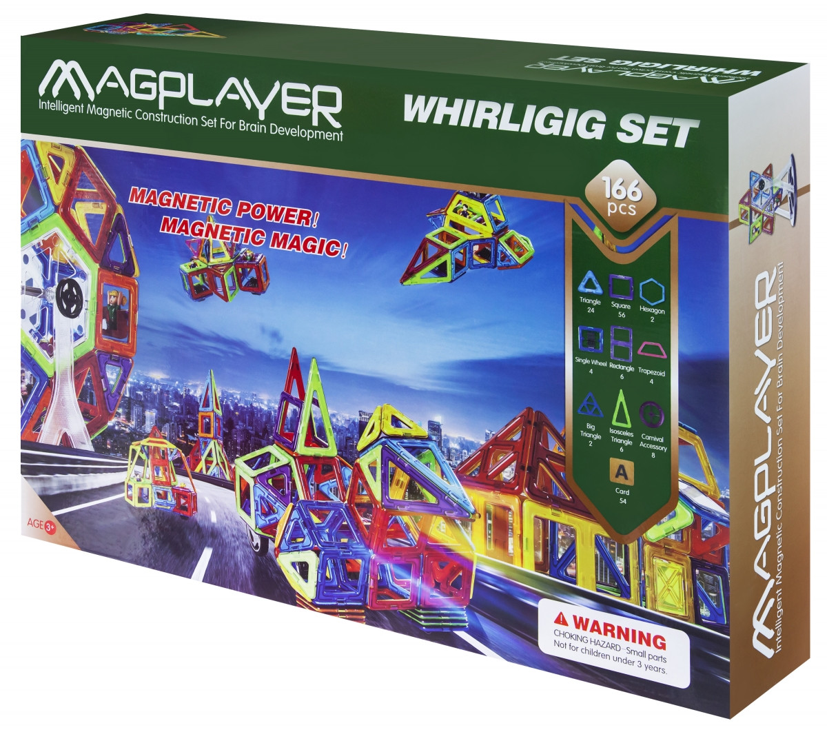Магнитный развивающий детский конструктор MagPlayer  MPA-166