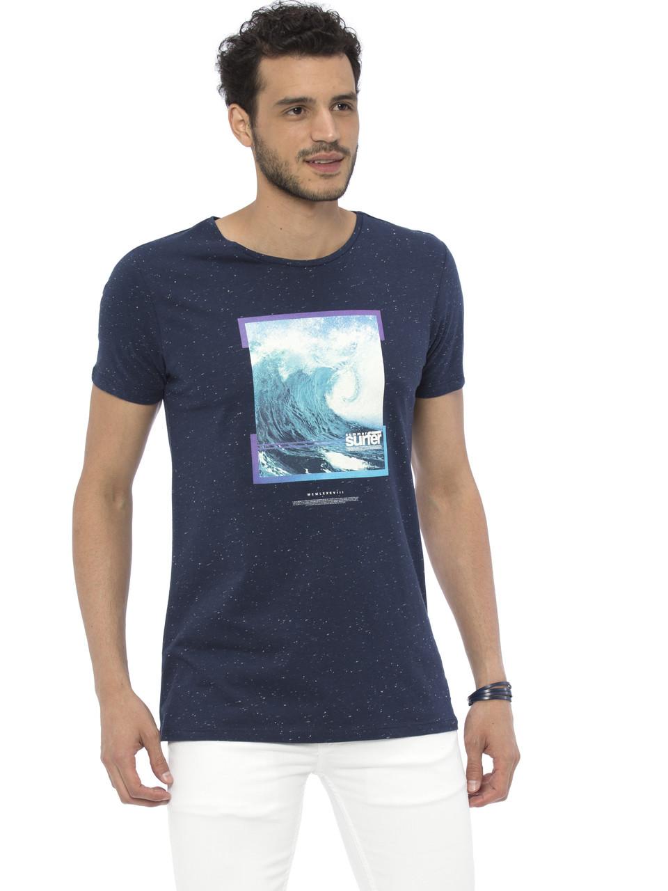 Синяя мужская футболка LC Waikiki / ЛС Вайкики с картинкой на груди