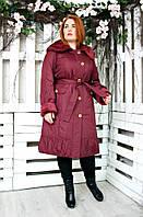 Плащ женский большого размера Вельбо 018 (2 цвета), демисезонное пальто большого размера , бордо и черный