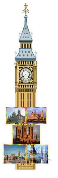 """Стенд для кабінету англійської мови """"Біг Бен"""" з годинниковим механізмом"""