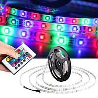 Светодиодная лента SMD 3528 RGB 5м + пульт + блок питания + контроллер