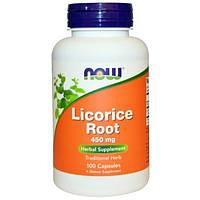 Солодка (ликорис) корень100 капс 450 мг от кашля, отхаркивающее, для разжижения мокроты Now Foods USA