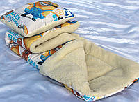 Одеяло детское в кроватку с подушкой,  ткань хлопок комбинированное с мехом