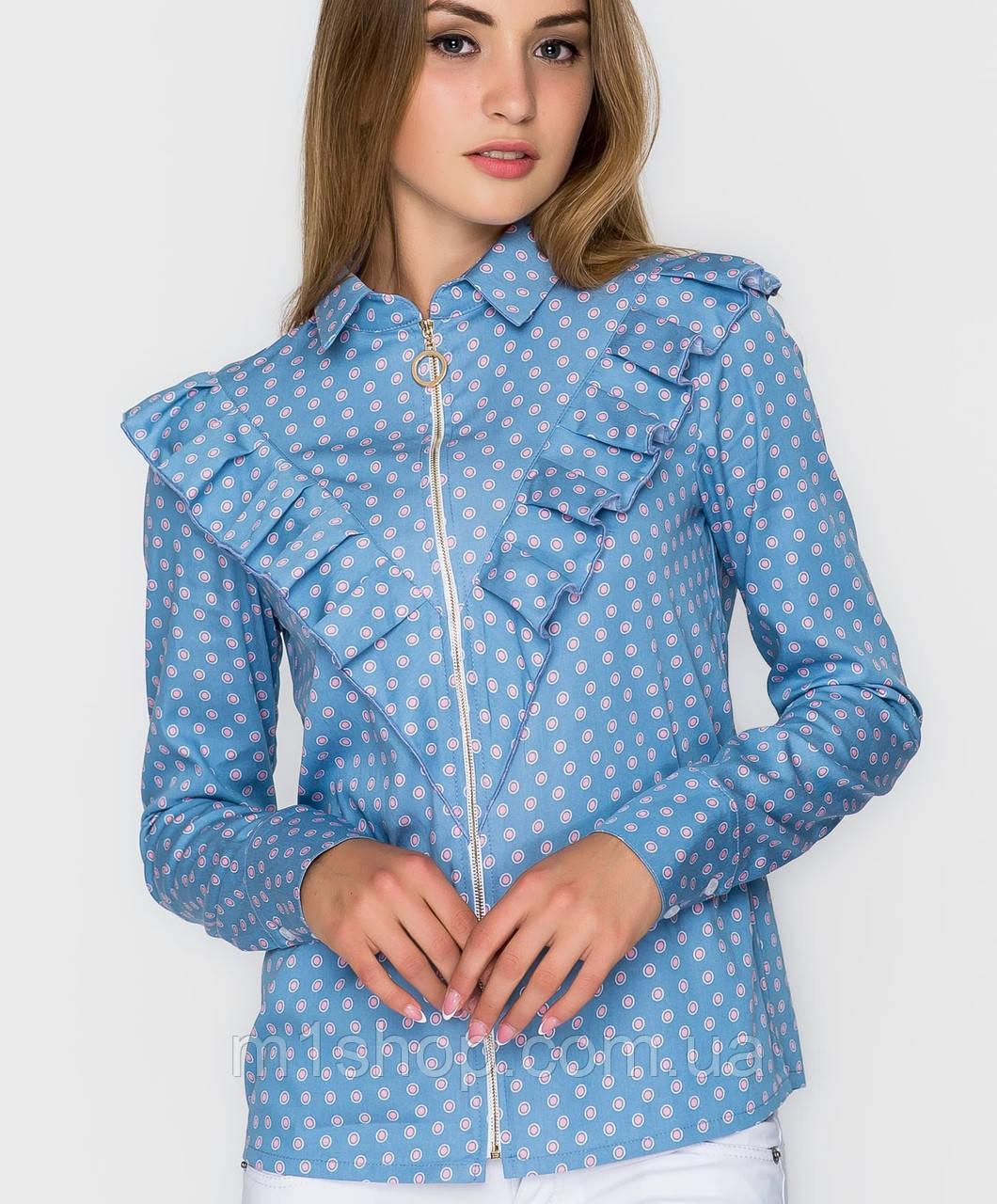 9128446a801e8ce Женская рубашка на молнии с рюшей (6239 sk) , цена 349 грн., купить ...