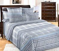 Семейное постельное белье с простыней на резинке 180/200/34 Дуглас, перкаль 100%хлопок
