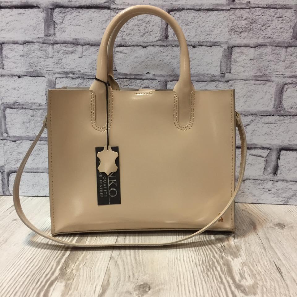 Женская сумка из натуральной глянцевой кожи