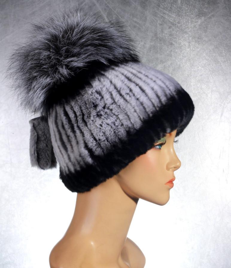 Женская меховая шапка Фонарик из рекса и чернобурки