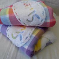 Лёгкое детское  одеяло из льна с мишками 110*110