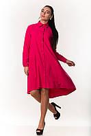 Элегантное женское  платье-рубашка  с длинным рукавом