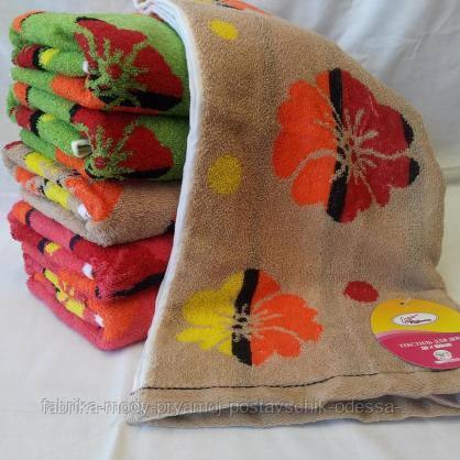 Яркие махровые  полотенца в цветах для лица  Размер: 1,0 x 0,5