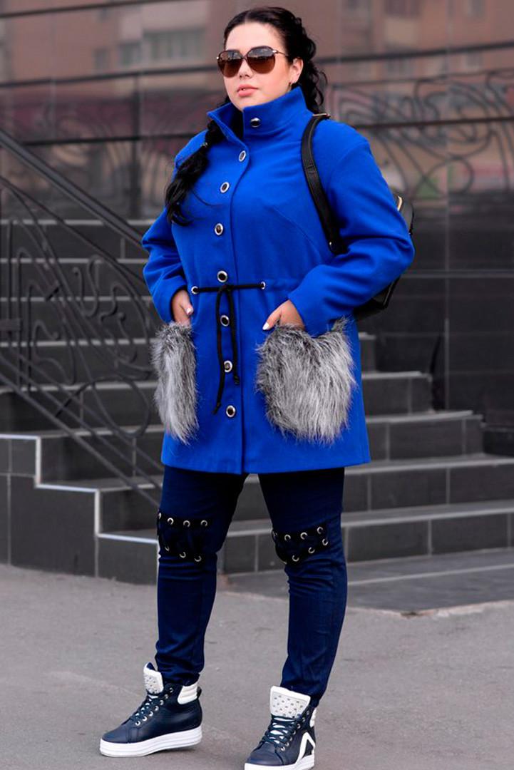 Синее модное пальто больших размеров
