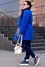 Синее модное пальто больших размеров, фото 3