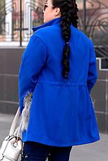 Синее модное пальто больших размеров, фото 2
