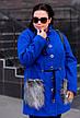 Синее модное пальто больших размеров, фото 4