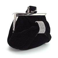 Велюровый вечерний клатч-кошелек черный маленький, фото 1