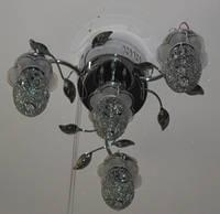 Люстра потолочная (4 хрустальных плафона, металлик)