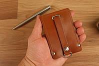 Ключница на кнопке (коричневая матовая кожа)
