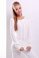 Удобный белый свитер прямого силуэта из качественной мягкой пряжи.