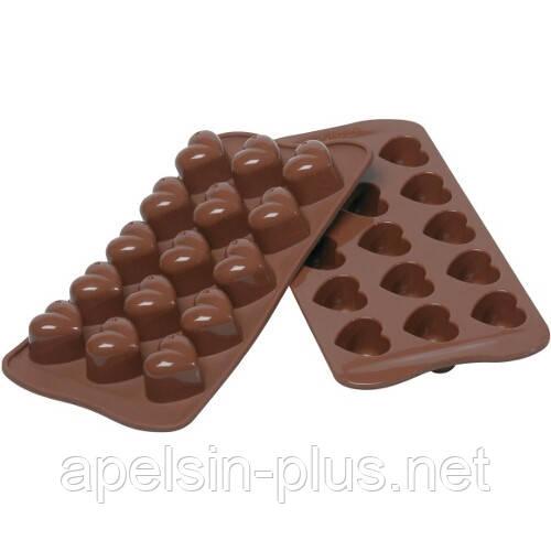 Силиконовая форма для шоколада и конфет Сердечки на 15 ячеек