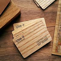 Визитки деревянные из шпона дерева с двухсторонней печатью, фото 1