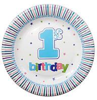 """Тарелочка """"первый день рождения"""" 18см"""