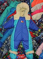 Детский комбинезон-трансформер однотонный сине-мятный