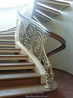 Облицовка винтовой лестницы ступенями и фигурными перилами