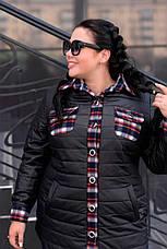 Черная куртка для полных женщин Агата, фото 3