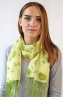 Шифоновый шарф с кистями Фиеста салатовый