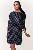 Модное женское платье прямого кроя с геометрическим узором