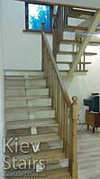 Отделка ступенями и перилами с простыми балясинами простой П-образной лестницы