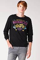 Темно-серый мужской свитшот De Facto с надписью на груди Brooklyn