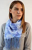 Шифоновый шарф с кистями Фиеста небесно-голубой