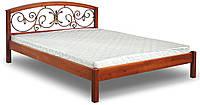 Кровать двуспальная из дерева с ковкой Британия ЧДК 140×200
