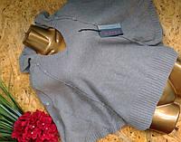 Пуловер Пончо из шерсти 54544 серый лед 44-52р