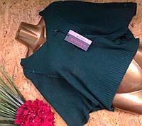 Пуловер Пончо из шерсти 54544 изумруд 44-52р