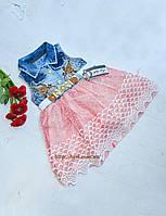Джинсовое НАРЯДНОЕ платье с шифоновой красной юбкой на девочку